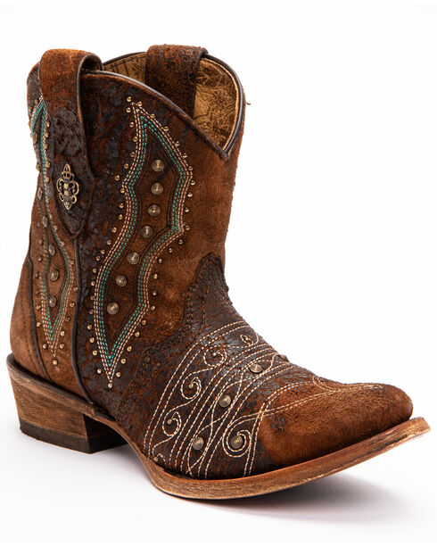 Corral Women's Lamb Embroidery & Studs Ankle Boots - Round Toe, Chocolate, hi-res