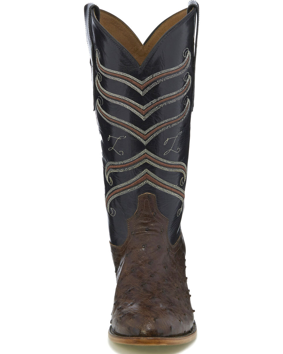 Tony Lama Men's Brown/Black Full Quill Ostrich Cowboy Boots - Round Toe, Dark Brown, hi-res