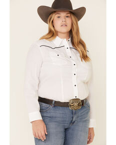 Ely Walker Women's Solid White Piped Yoke Long Sleeve Snap Western Core Shirt - Plus, White, hi-res