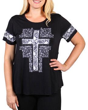 Vocal Women's Rhinestone Cross Short Sleeve Top - Plus, Black, hi-res