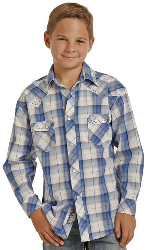 Rock & Roll Cowboy Boys' Blue Poplin Long Sleeve Plaid Shirt , Blue, hi-res