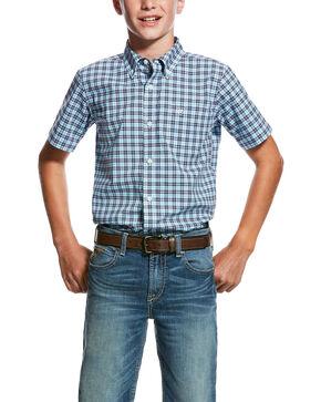 Ariat Boys' Milos Stretch Plaid Short Sleeve Western Shirt , Purple, hi-res