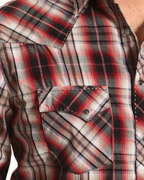 Wrangler Men's Red Plaid Western Fashion Shirt , Red, hi-res