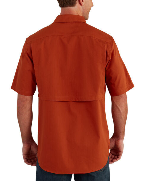 Carhartt Men's Spice Force Ridgefield Short Sleeve Solid Shirt - Big and Tall, Chili, hi-res