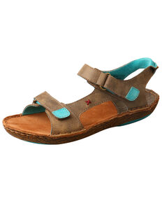 Twisted X Women's Leather Wrap Sandals, Brown, hi-res