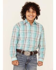 Panhandle Boys' Emerald Plaid Long Sleeve Western Shirt , Green, hi-res