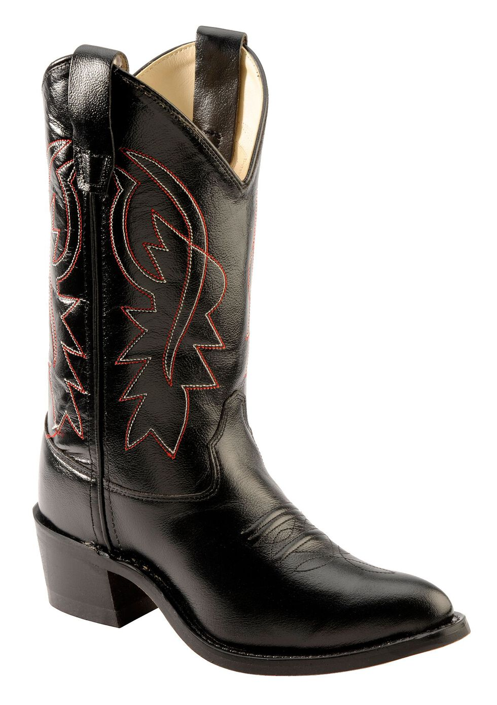 Old West Youth Boys' Corona Cowboy Boots - Pointed Toe, Black, hi-res