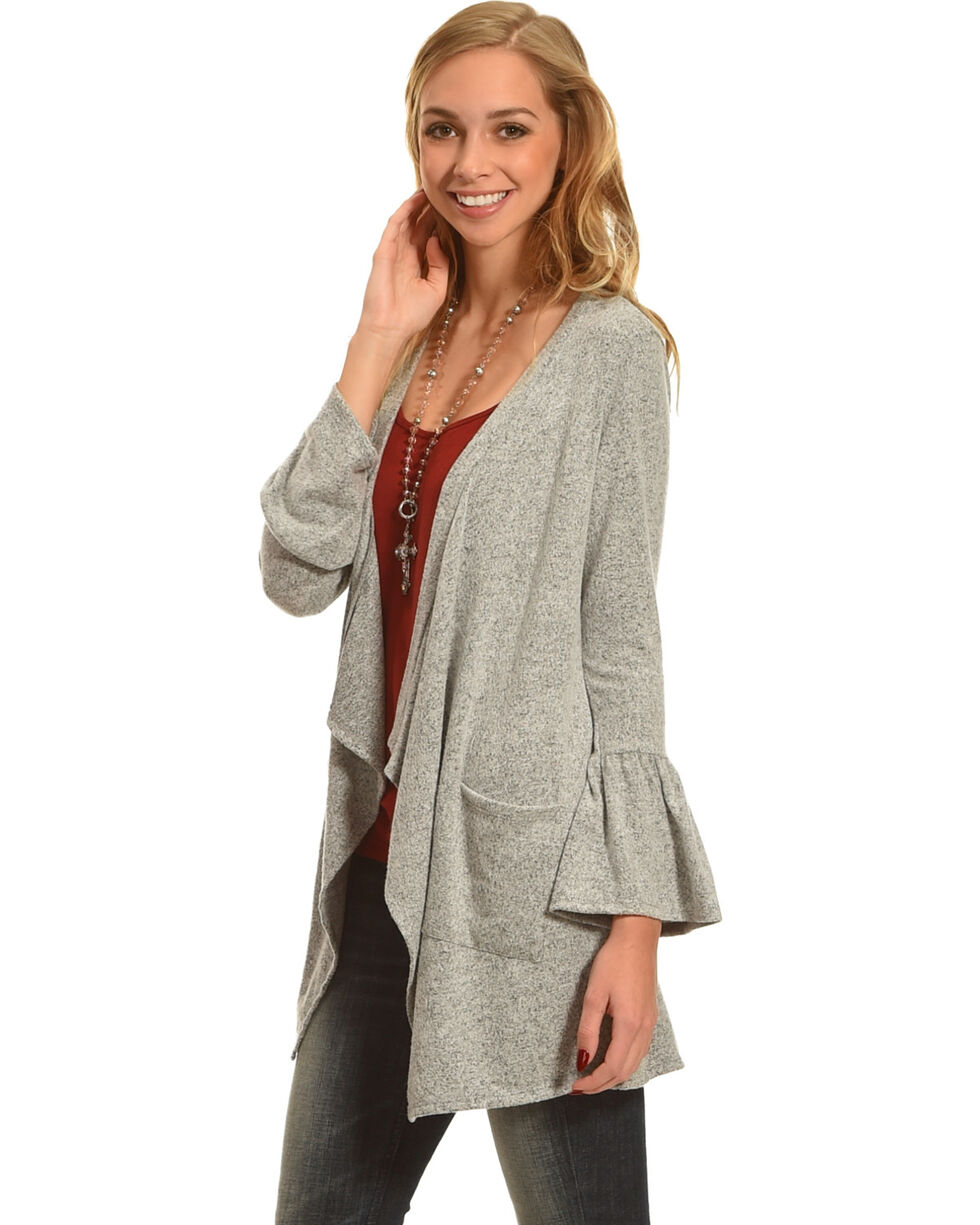 Moa Moa Heather Grey Brushed Knit Bell Sleeve Cardigan, , hi-res