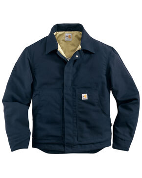 Carhartt Men's Flame-Resistant Canvas Dearborn Jacket - Big & Tall, Navy, hi-res