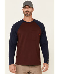 Hawx Men's Dark Red Original Baseball Crew Long Sleeve Work T-Shirt , Dark Red, hi-res