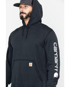 Carhartt Men's Logo Hooded Work Sweatshirt - Tall , Black, hi-res