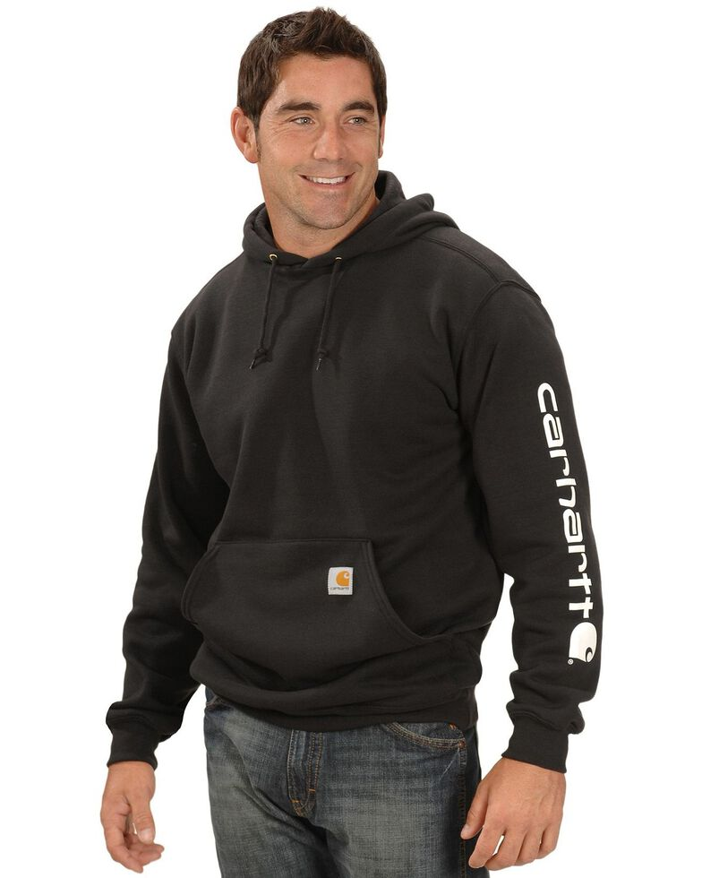Carhartt Men's Logo Hooded Work Sweatshirt - Big , Black, hi-res