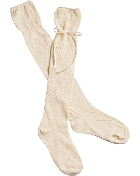 Blazin Roxx Cream Crochet with Ribbon Knee-High Socks, Cream, hi-res