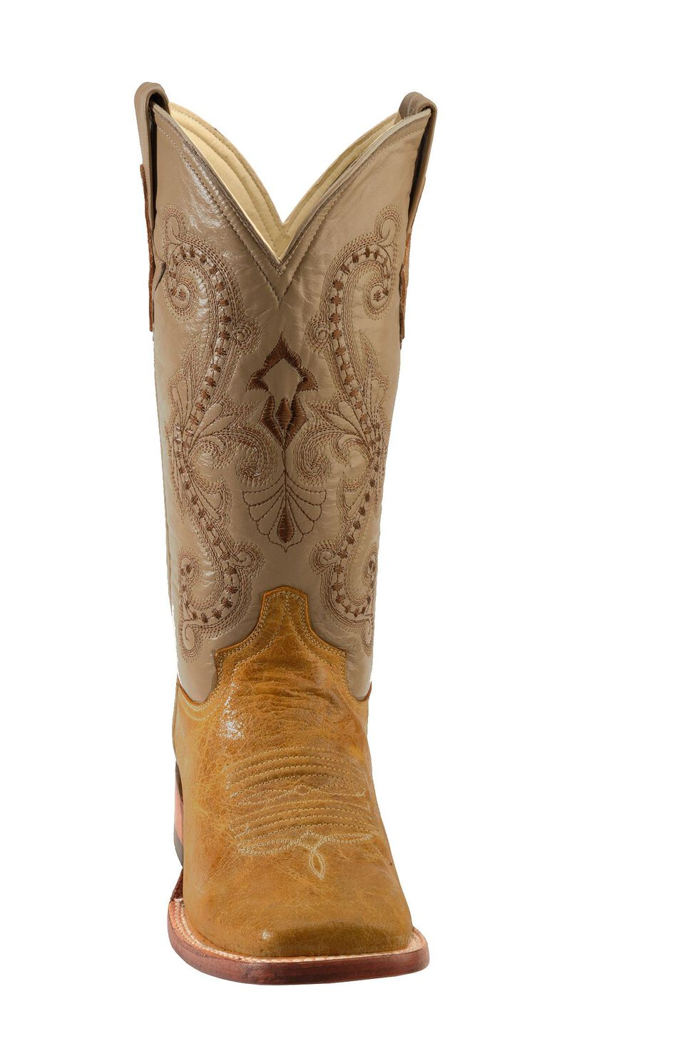 Ferrini Distressed Kangaroo Cowgirl Boots - Wide Square Toe, Antique Saddle, hi-res
