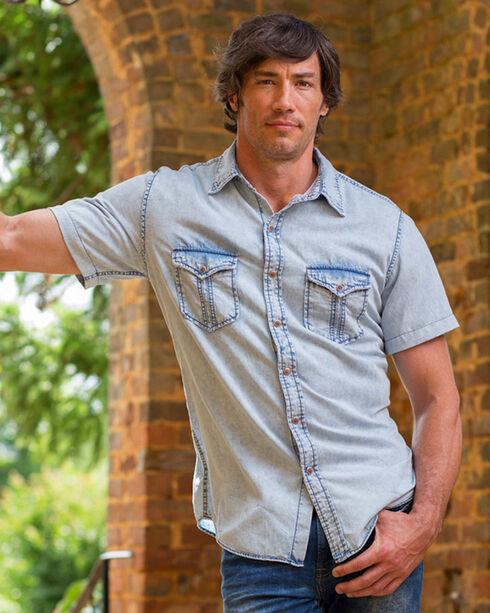 Ryan Michael Men's Indigo Split Rail Short Sleeve Shirt, Indigo, hi-res
