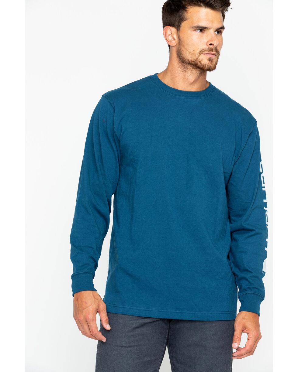 Carhartt Men's Signature Graphic Logo T-Shirt, Blue, hi-res