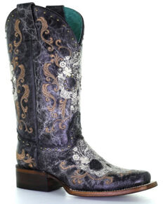 Corral Women's Floral Skull Embroidery & Studs Western Boots - Square Toe, Black/white, hi-res