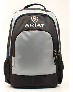 Ariat Black/Classic Grey Side Water Bottle Pockets Backpack, Grey, hi-res