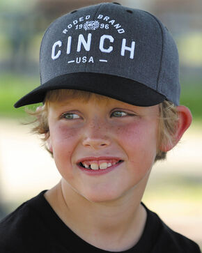 Cinch Boys' Embroidered Logo Flexfit Cap, Black, hi-res
