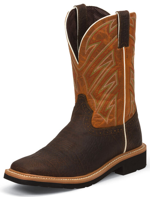 Justin Original Work Boots Rugged Chestnut Pull-On Hybred Work Boots - Square Toe , Chestnut, hi-res