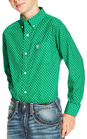 Ariat Boys' Green Oswego Print Long Sleeve Shirt , Green, hi-res