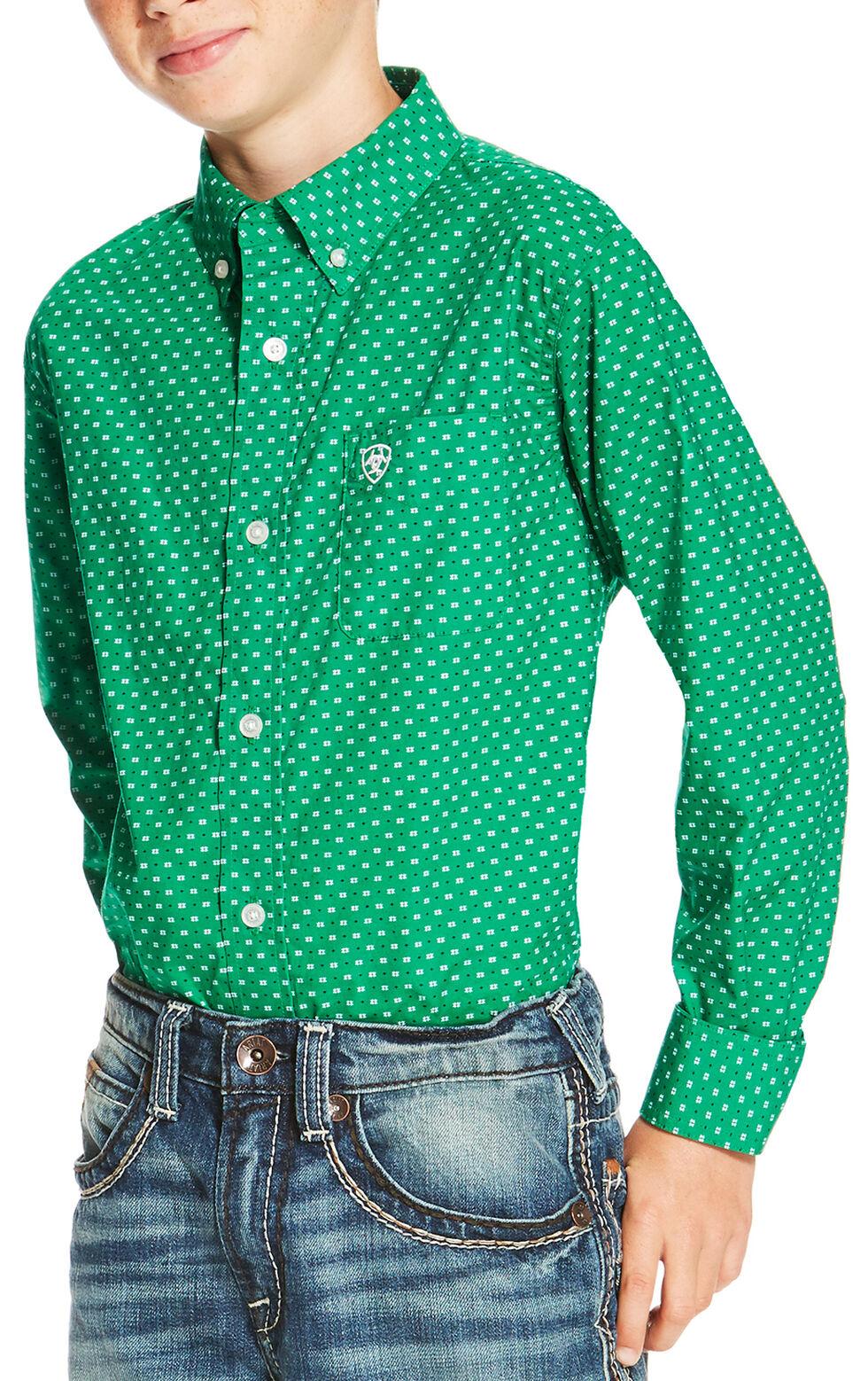 Ariat Boys' Green Oswego Print Long Sleeve Shirt , Green, hi-res