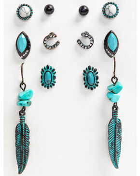 Shyanne Women's Patina Crescent 6 Piece Feather Earring Set, Turquoise, hi-res