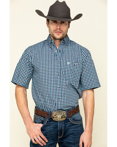 George Strait By Wrangler Men's Turquoise Small Plaid Short Sleeve Western Shirt - Big , Turquoise, hi-res