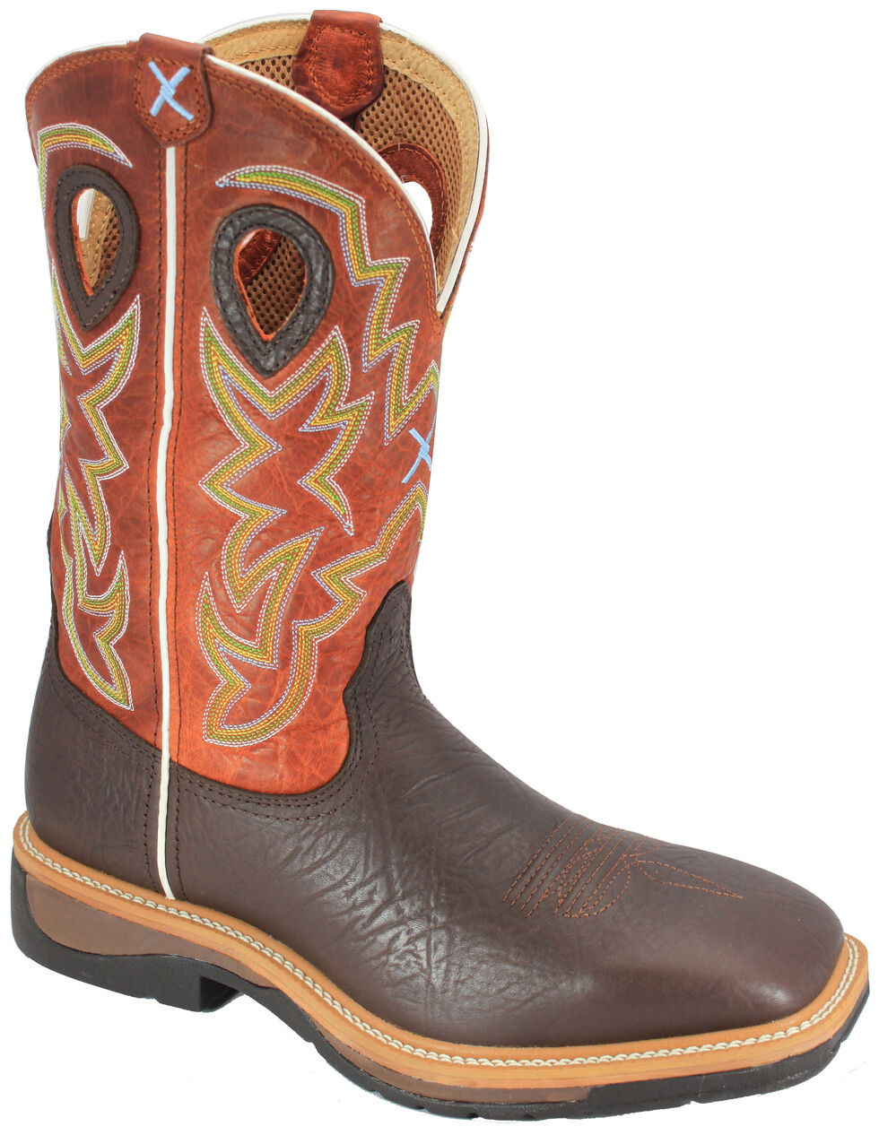 Twisted X Orange Lite Cowboy Work Boots - Soft Square Toe, Brown, hi-res