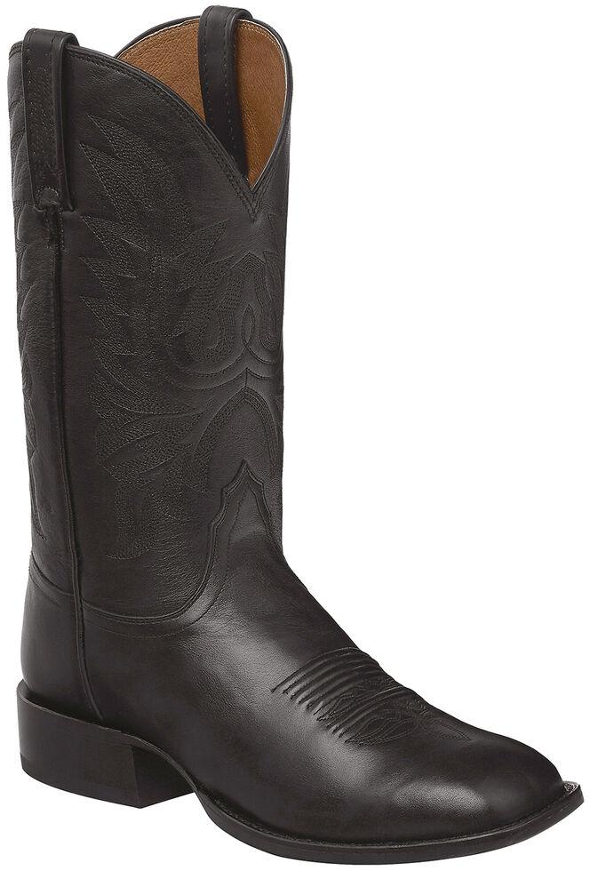 Lucchese Handmade Black Jason Lone Star Calf Cowboy Boots - Square Toe , Black, hi-res