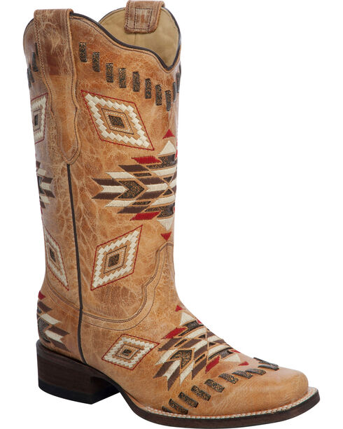 Corral Woven Aztec Pattern Cowgirl Boots - Square Toe, Antique Saddle, hi-res