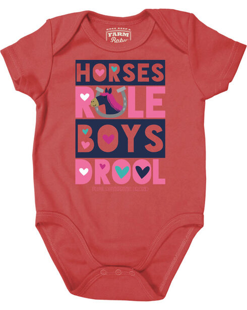 Farm Girl Infant Girls' Horses Rule Creeper, Coral, hi-res