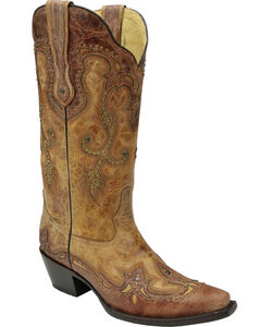 Corral Women's Cognac Antique Saddle Cowgirl Boots - Snip Toe, Antique Saddle, hi-res