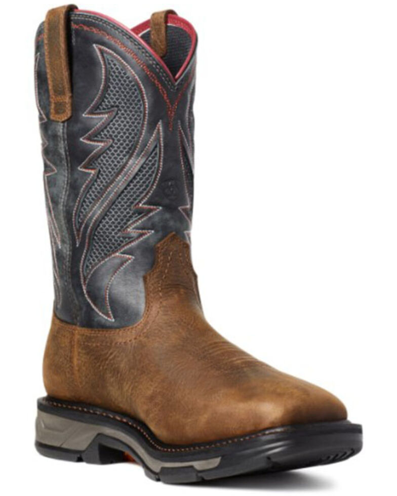 Ariat Men's Rye Workhog Western Work Boots - Soft Toe, Brown, hi-res