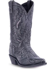 Laredo Men's Garrett Distressed Western Boots - Snip Toe , Black, hi-res