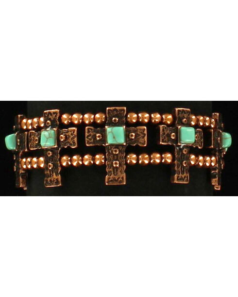 Blazin Roxx Women's Stretch Copper Cross Bracelet , Rust Copper, hi-res
