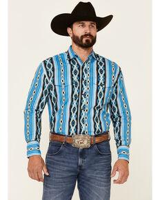 Wrangler Men's Blue Aztec Checotah Long Sleeve Snap Western Shirt , Blue, hi-res