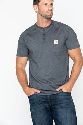 Carhartt Force Cotton Henley Shirt, Heather Grey, hi-res