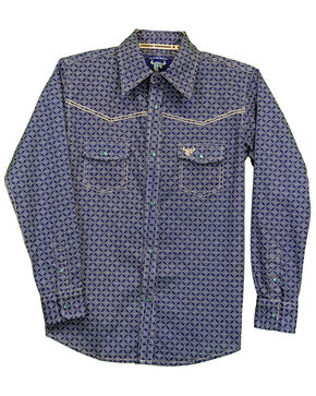 Cowboy Hardware Boys' Diamond Geo Print Long Sleeve Western Shirt , Navy, hi-res