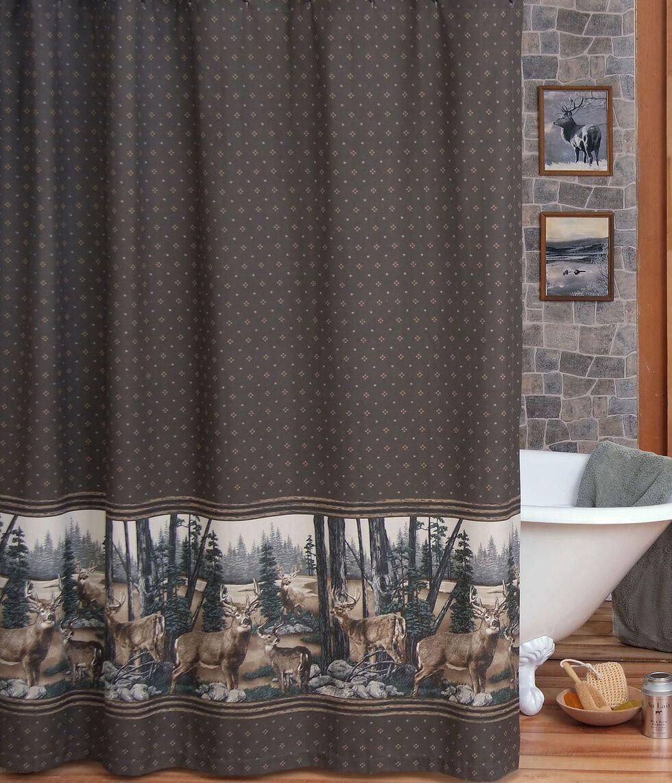 Blue Ridge Trading Whitetail Dreams Shower Curtain, Brown, hi-res