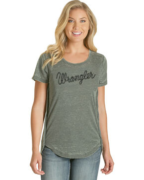 Wrangler Women's Green Rope Logo Short Sleeve Tee , Green, hi-res