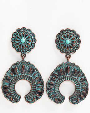 Shyanne Women's Patina Crescent Concho Crescent Earrings, Turquoise, hi-res