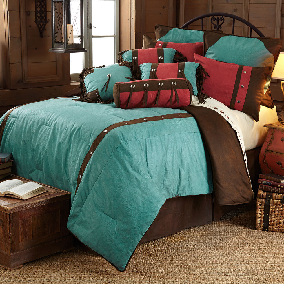 HiEnd Accents Cheyenne Floral Western Bed In A Bag Set - Queen Size, Turquoise, hi-res