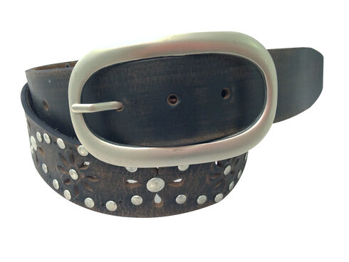 Danbury Women's Brown Floral Cutout Belt, Brown, hi-res