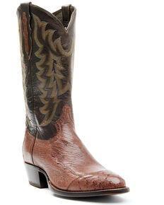 Tona Lama Men's Kango Tabac Ernesto Ostrich Exotic Western Boot - Round Top , Brown, hi-res