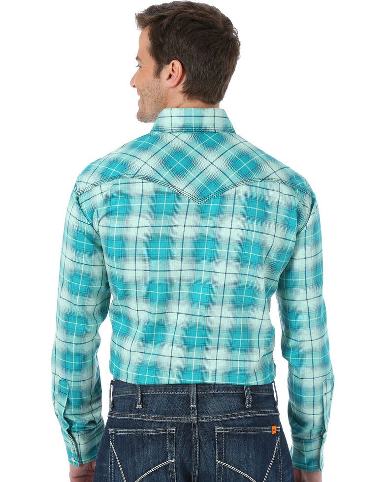 Wrangler Men's Green Plaid Flame Resistant Long Sleeve Work Shirt - Big & Tall, Green, hi-res