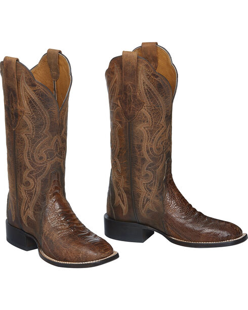 Lucchese Burnished Marissa Ostrich Leg Cowgirl Boots - Square Toe , Cognac, hi-res