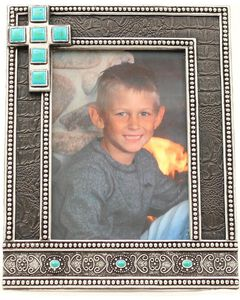 "Western Moments Black Studded Turquoise Cross Photo Frame - 5"" x 7"", Black, hi-res"