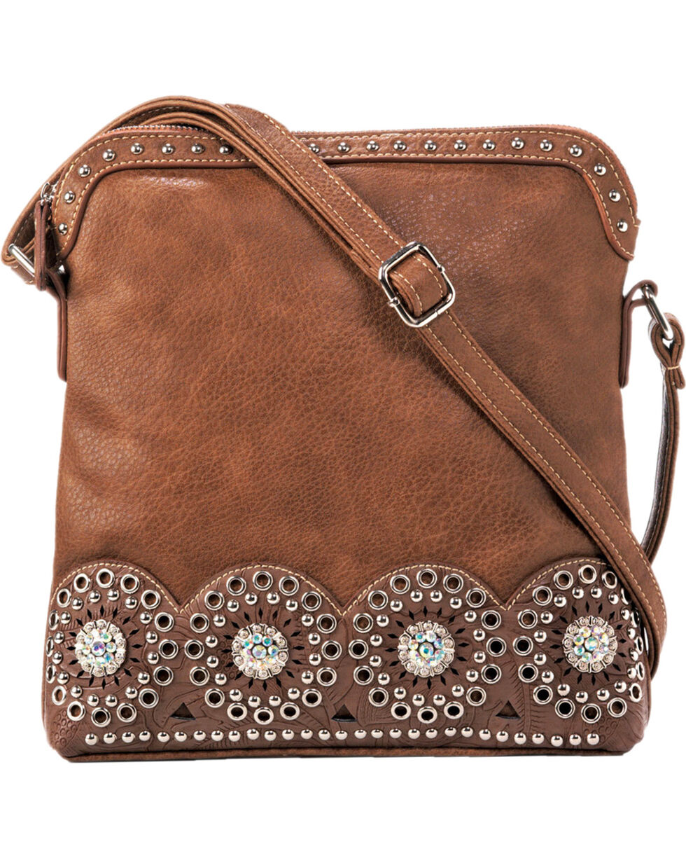 Blazin Roxx Rhianna Conceal Carry Messenger Bag, Brown, hi-res