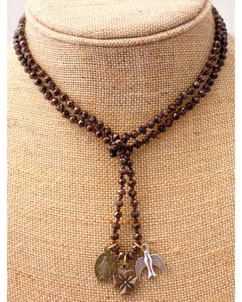 InspireDesigns Women's Black Crystal Rope Charm Necklace , , hi-res